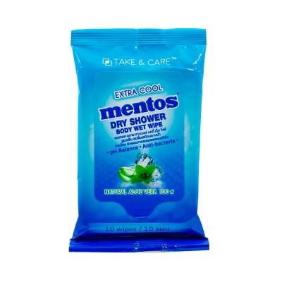 MENTOS DRY SHOWER BODY WET WIPE (10 sheets)